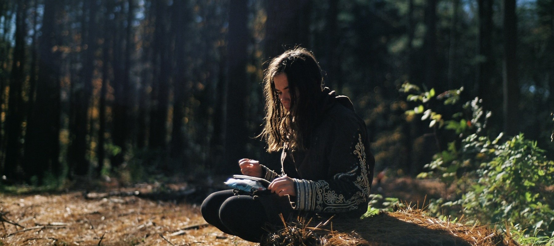 lone woman writing in woods copy