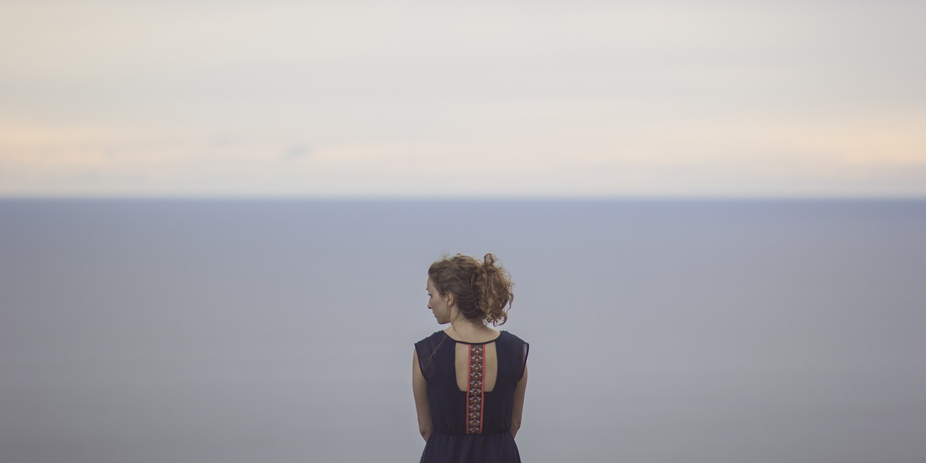 woman back on sea